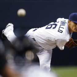 San Diego Padres starter Cesar Carrillo pitches against the Chicago Cubs.