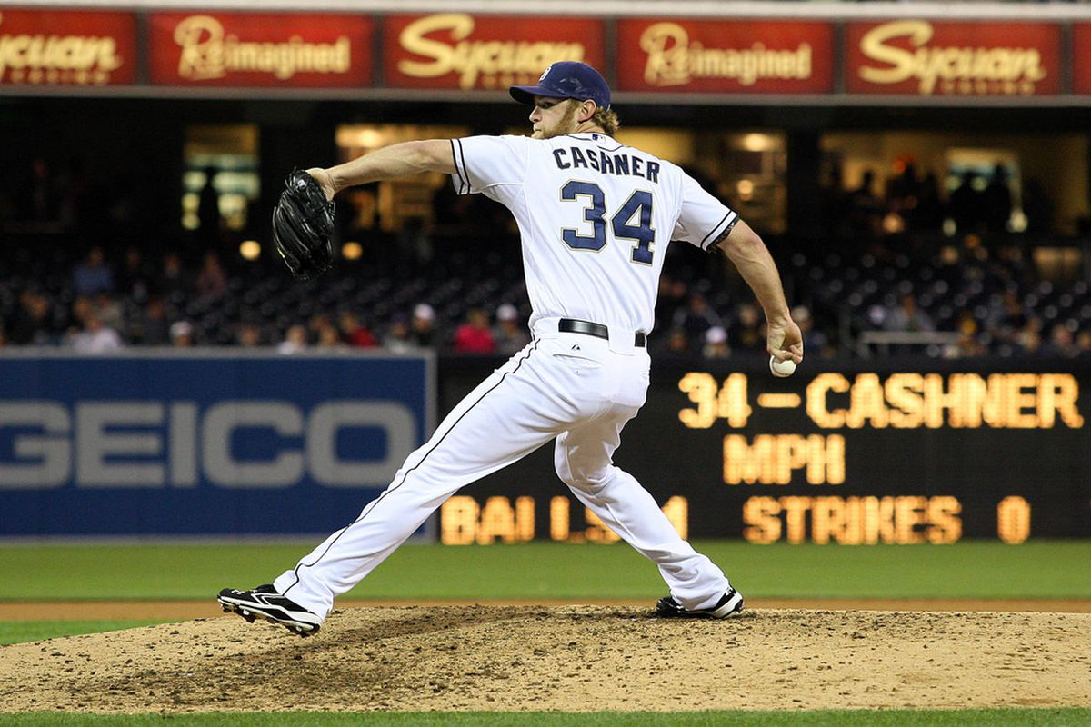 Apr 24, 2012; San Diego, CA, USA; San Diego Padres starting pitcher Andrew Cashner (34) pitches during the eighth inning against the Washington Nationals at PETCO Park.  Mandatory Credit: Jake Roth-US PRESSWIRE