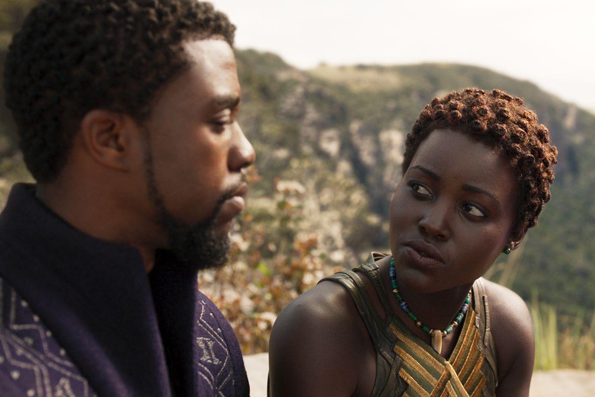 Chadwick Boseman and Lupita Nyong'o in Black Panther