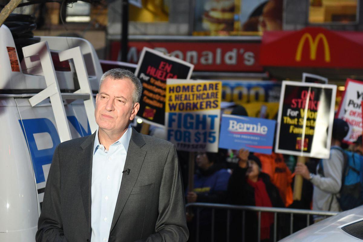 Mayor Bill de Blasio after a rally outside a Brooklyn McDonald's in 2015