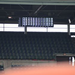 11:15 a.m. The new pitch-speed display being tested in the third-base line upper deck -