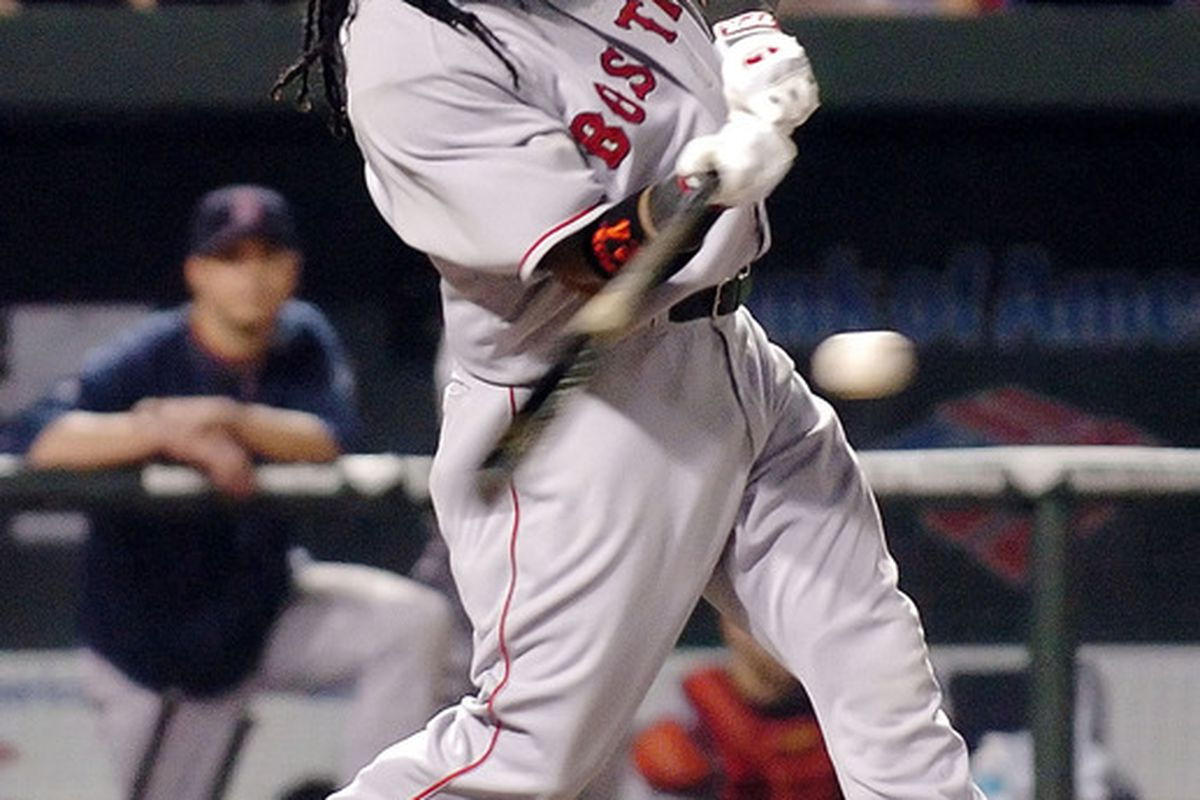 Manny Ramirez of the Boston Red Sox hits his 500th home run in the seventh inning against the Baltimore Orioles at Camden Yards in Baltimore, Maryland. (Photo by Greg Fiume/Getty Images)