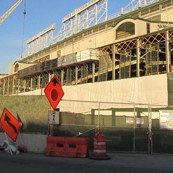 New scaffolding along west side of park -