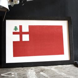 """Old Try, a letterpress company in Somerville (yeah, there are a LOT of makers there!), designed this """"Patriots Day"""" letterpress print of the original New England flag. Take home a piece of regional history for <a href=""""http://theoldtry.com/products/patrio"""