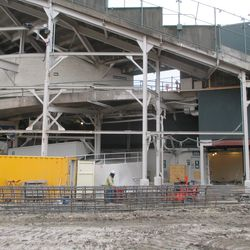 View of the back of the center-field bleachers from Waveland