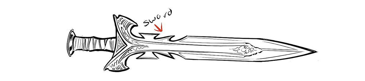 A black and white drawing of Yara Flor/Wonder Woman's sword, which has a jagged blade close to its hilt.