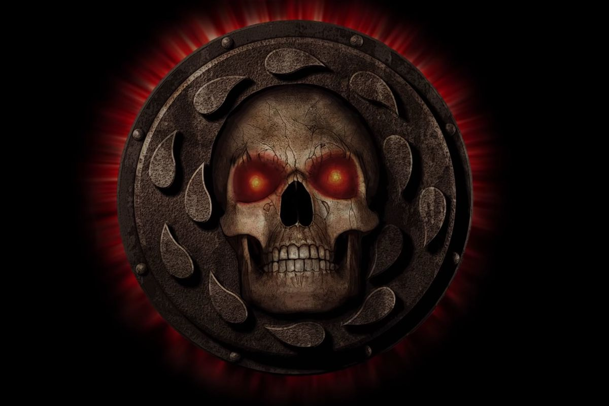 Key art for Baldur's Gate: Enhanced Edition from Beamdog includes the iconic skull on a shield icon.