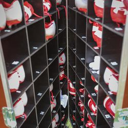 Football players go through a lot of shoes here is the Utah Utes spare shoe container at the Zaxby's Heart of Dallas Bowl between the Utah Utes and the West Virginia Mountaineers in Dallas Texas on Tuesday, Dec. 26, 2017.