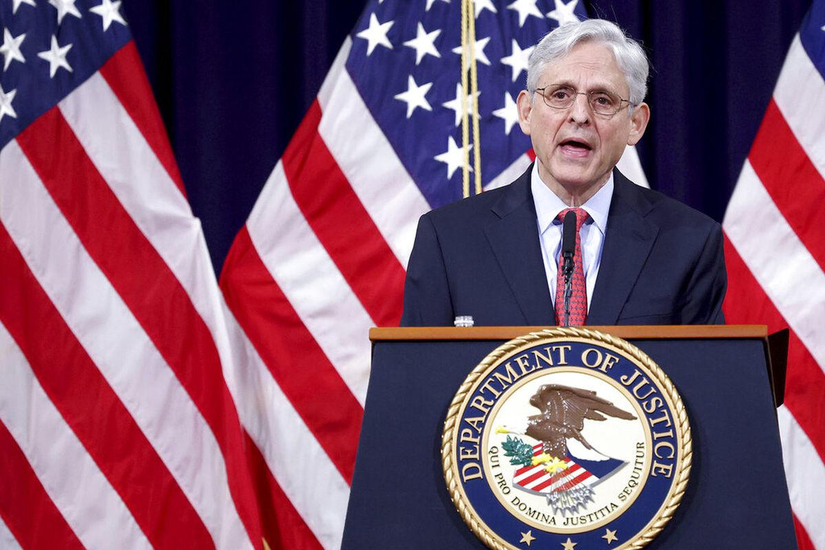Attorney General Merrick Garland speaks at the Justice Department in Washington.