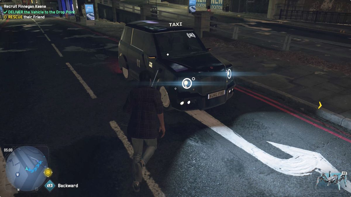 A taxi with Autodrive in Watch Dogs: Legion