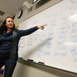 Paley Martin, an instructor for the Salt Lake City Pregnancy Resource Center, talks to Teresa Olson's class at Cottonwood High on Friday, Dec. 2, 2016.