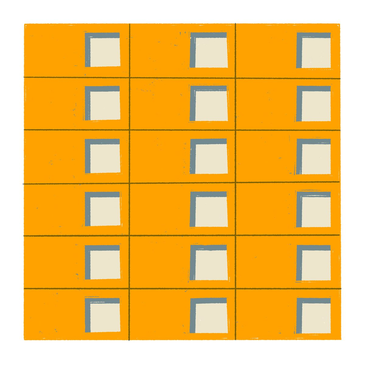 A 6x3 grid of rectangles with a square cutout centered on the right side of each individual rectangle. Illustration.