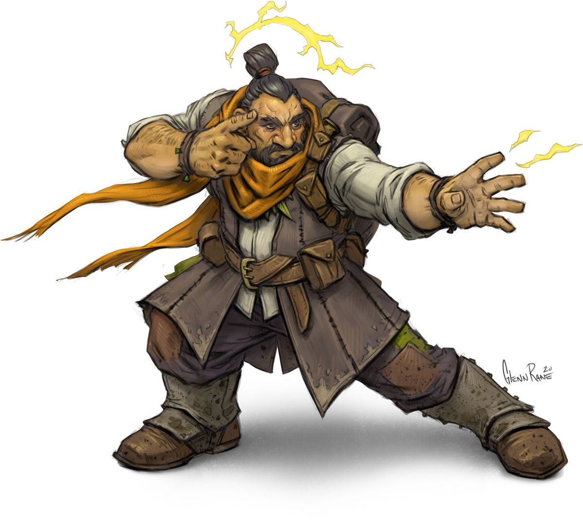 A dwarf reaches out with his hands, energy arcing from his head down into his hands. A finger sits on his right temple.