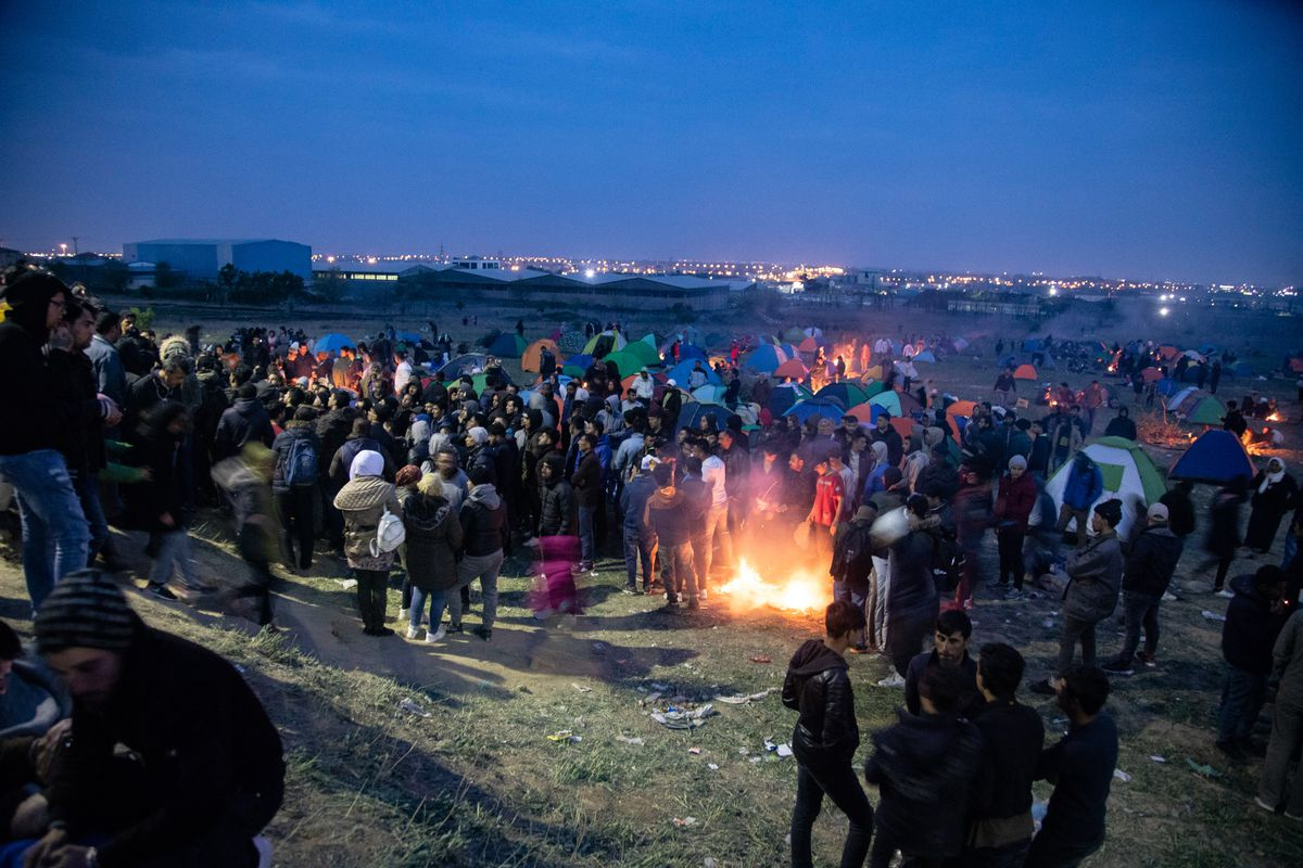 Refugees on April 5, 2019, camp out in Greece as they flee violence in the Middle East.