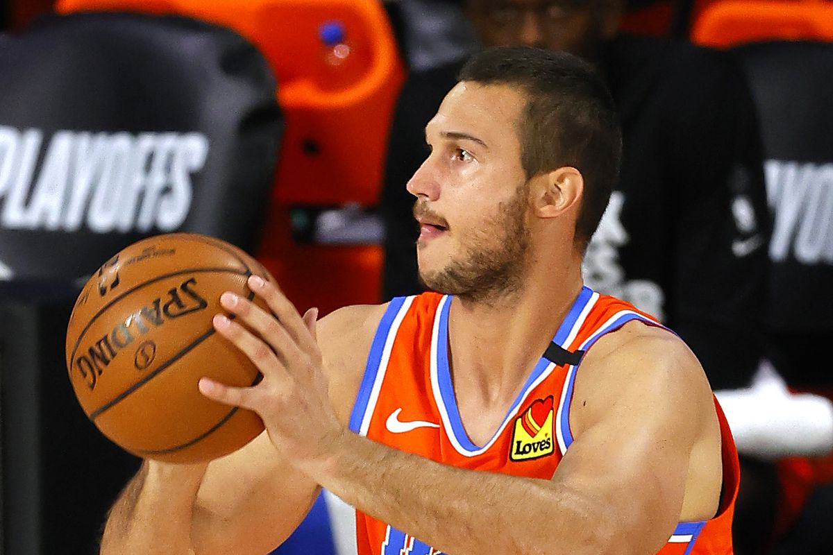 Danilo Gallinari of the Oklahoma City Thunder shoots against the Houston Rockets in the first half in game three of the first round of the 2020 NBA Playoffs at The Field House.