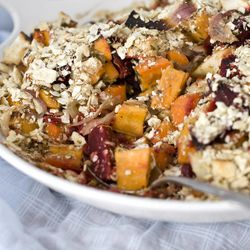 In this Feb. 27, 2012 photo, a root vegetable casserole sits on display, in Concord, N.H. Get your Passover Seder off to a healthy start with a flavorful root vegetable casserole. We seasoned it with citrus and herbs and added a crumb topping. In keeping with the kosher for Passover rules, we used crushed matzo in place of the more traditional breadcrumb topping that goes with casseroles.