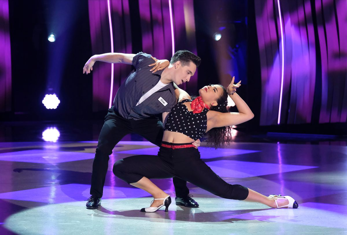 """""""So You Think You Can Dance"""" Top 10 to 8: Top 10 contestants Stephanie Sosa (R) and Gino Cosculleuela (L) perform a jive routine to """"Long Tall Sally (The Thing)"""" choreographed by Emma Slater & Sasha Farber on """"So You Think You Can Dance,"""" which aired"""