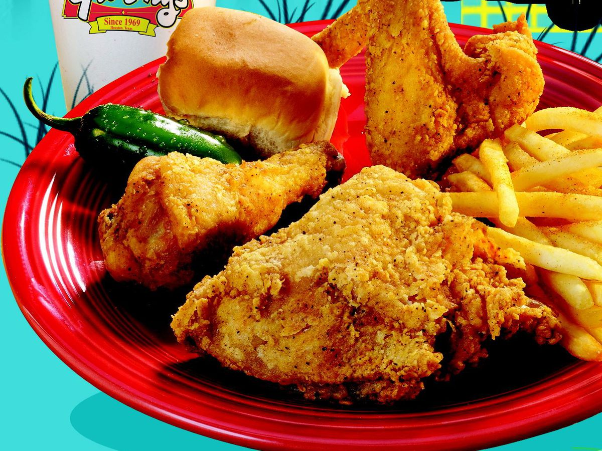 Frenchy's fried chicken with french fries, roll, and jalapeno