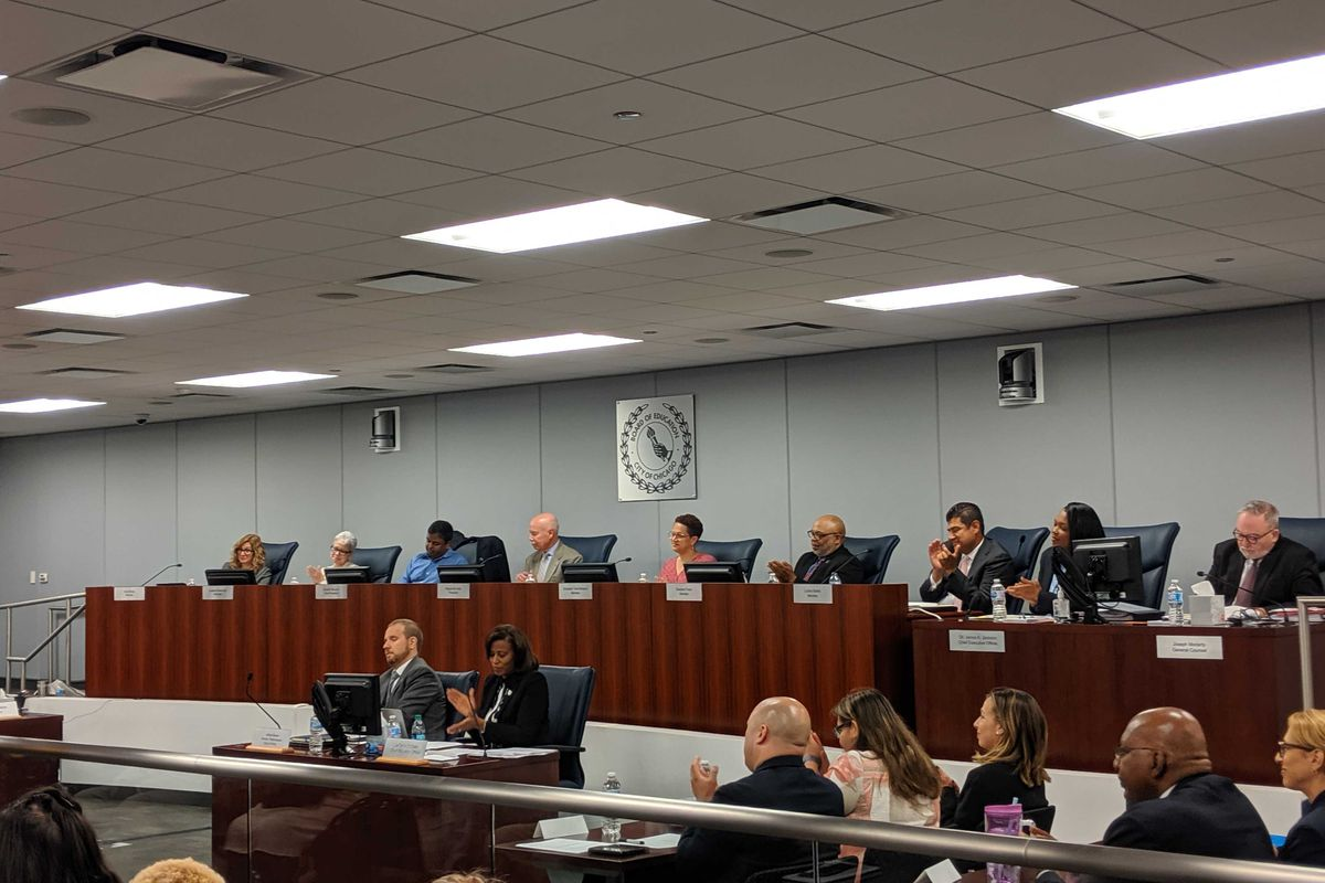 Chicago's new school board presides over its first meeting on June 26, 2019.