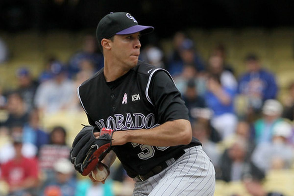 Ubaldo Jimenez shutting down the Dodgers at Dodger Stadium in 2010, part of the best season a Rockies pitcher has ever had.