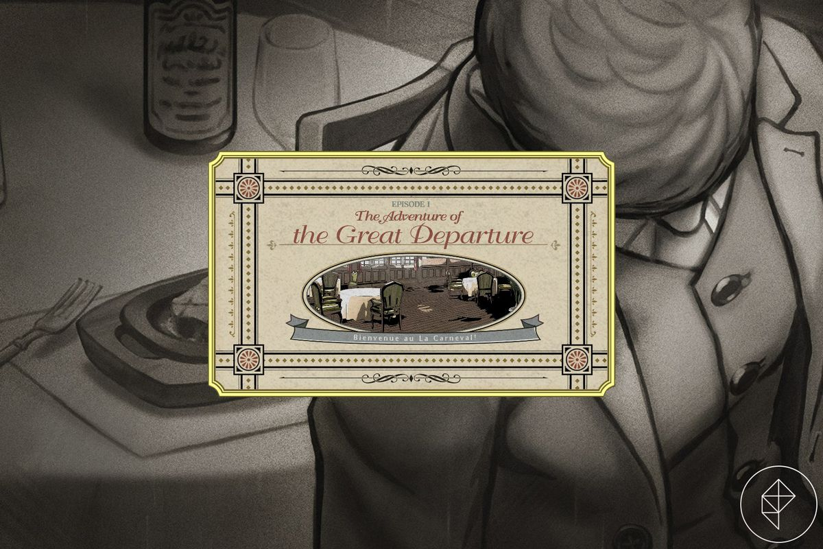 A body is slumped in front of a table with a steak on it. A title card for Episode 1 of The Great Ace Attorney Chronicles is in front of the image.