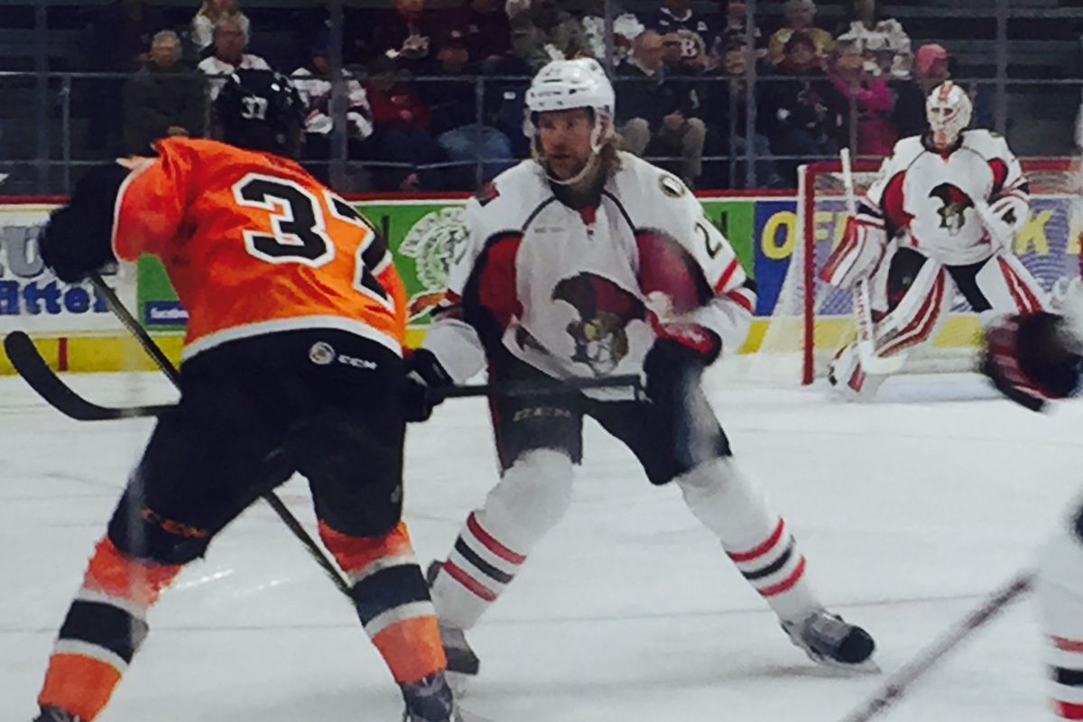 Michael Kostka during a recent game with the Binghamton Senators