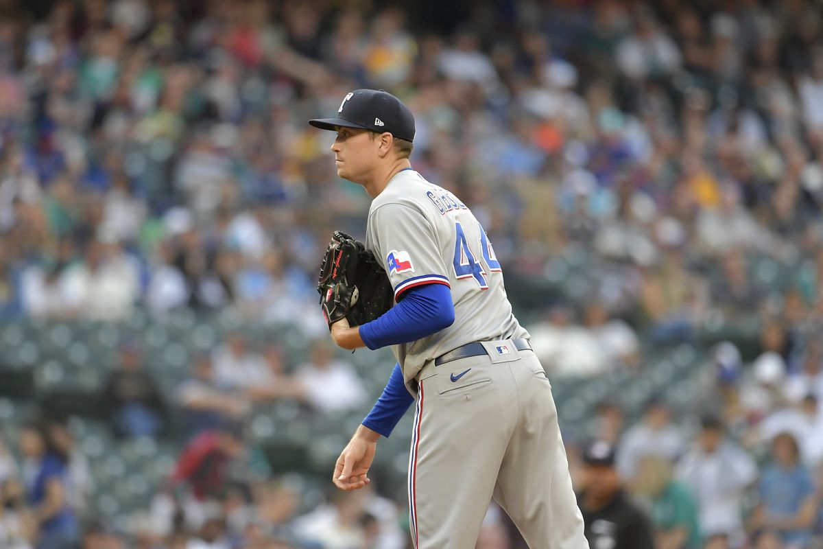Kyle Gibson #44 of the Texas Rangers stands on the mound during the game against the Seattle Mariners at T-Mobile Park on July 02, 2021 in Seattle, Washington. The Seattle Mariners beat the Texas Rangers 5-4 in 10 innings.