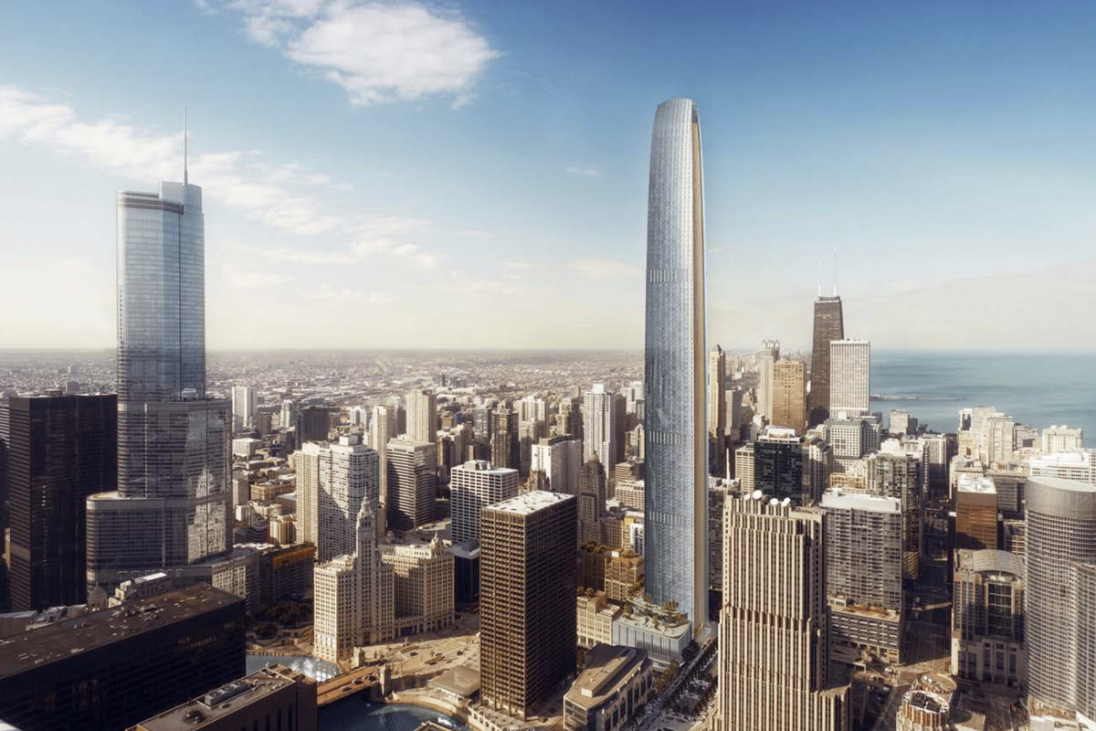 A rendering of a slender, tapering glass tower rising above surrounding downtown buildings and a large body of water.