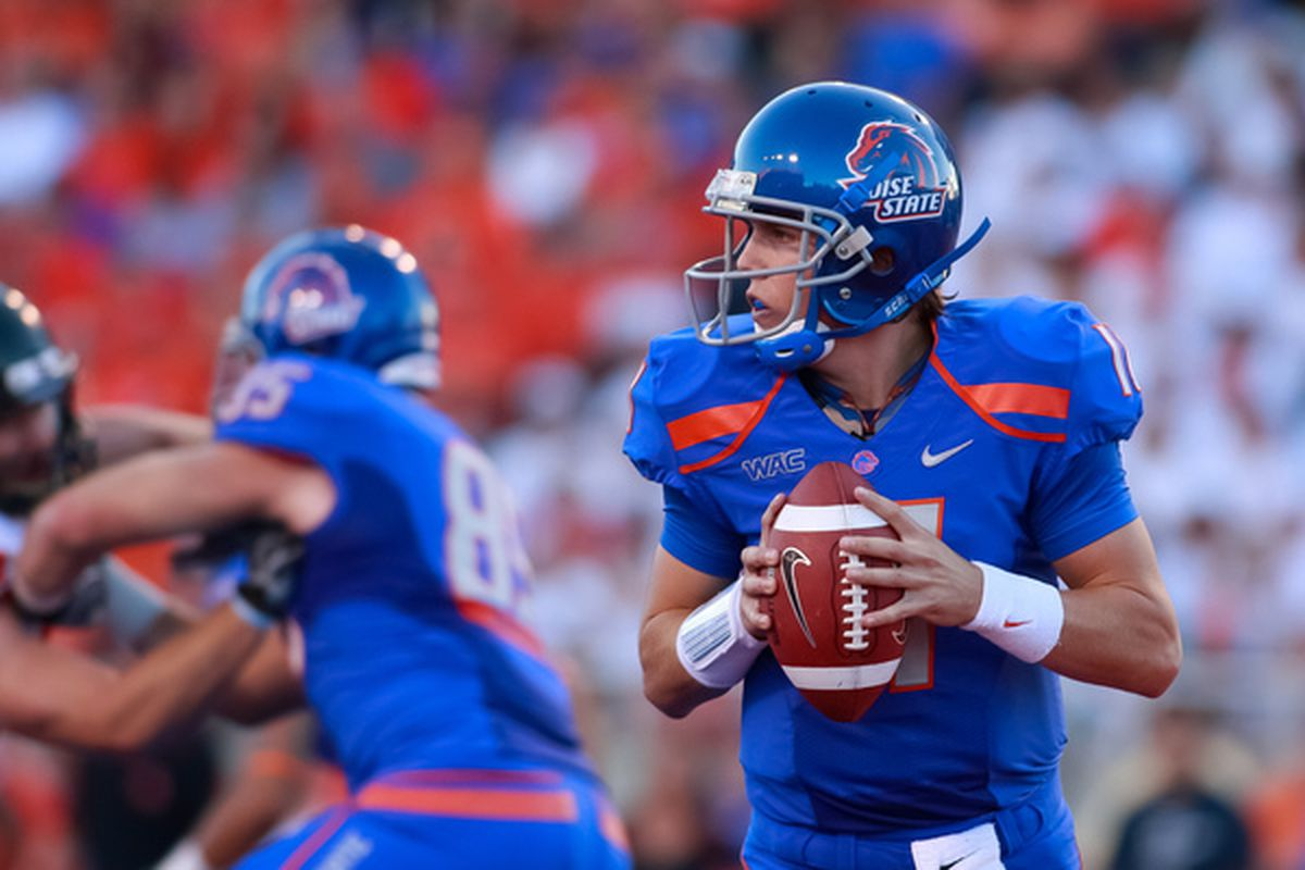 Quarterback Kellen Moore #11 of the Boise State Broncos.  (Photo by Otto Kitsinger III/Getty Images)