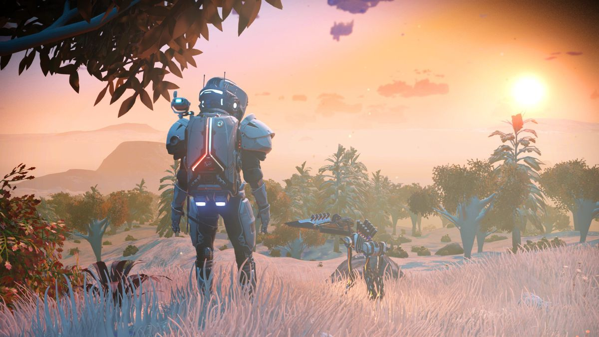No man's Sky - a player stands on a forest planet next to his tiny, murderous pet