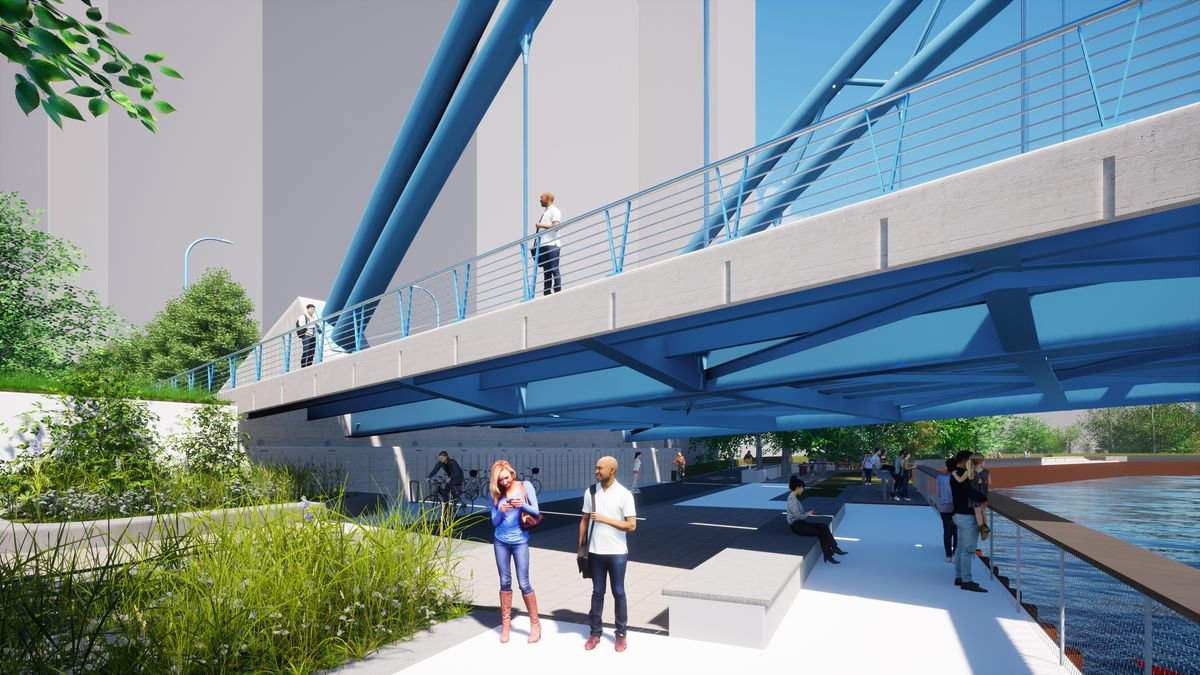 An architectural rendering of the Dominick Bridge in the Lincoln Yards project.