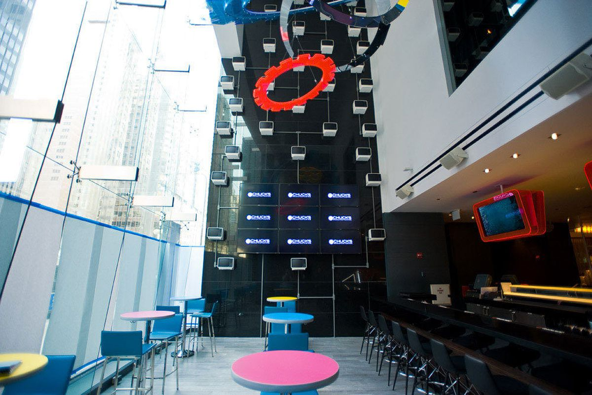 The bar off Michigan Avenue has super-high ceilings and mod art installations