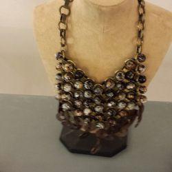 Skull bib necklace