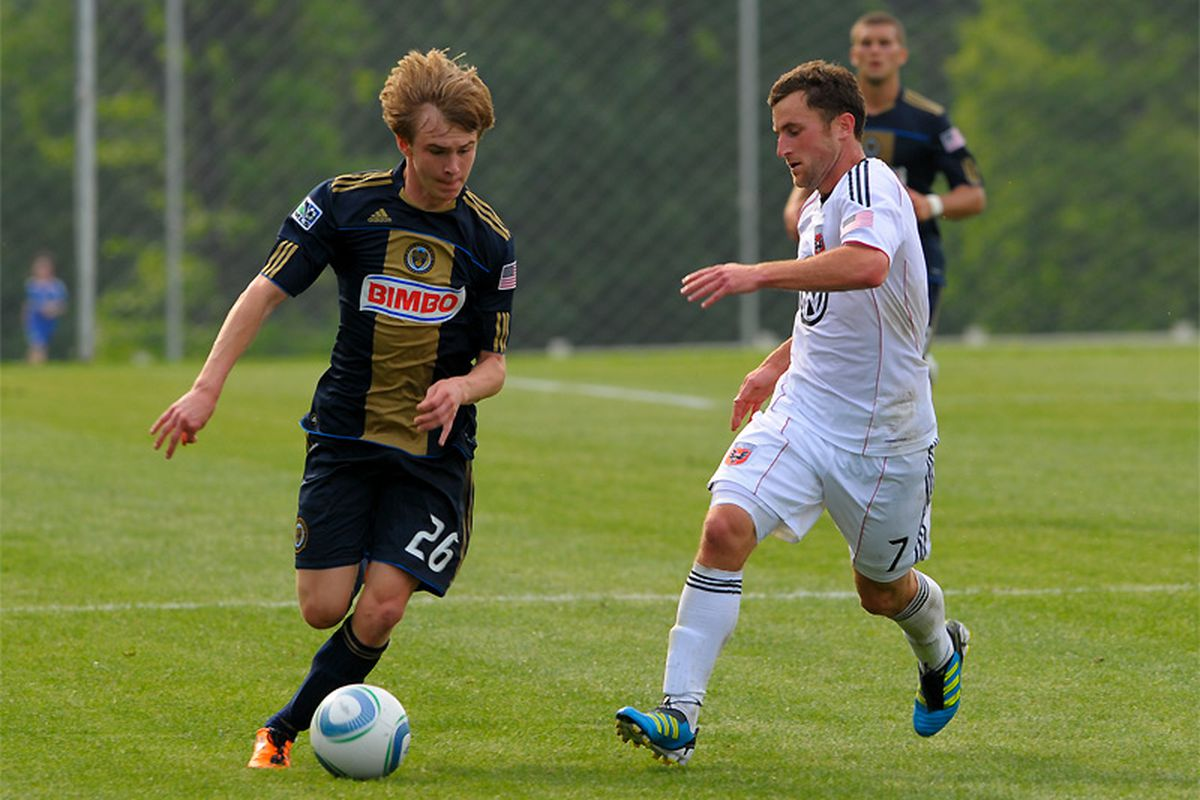 """Jimmy McLaughlin in action for Union Reserves against the DC United Reserves. (Photo by <a href=""""http://www.flickr.com/photos/earl_gardner/"""" target=""""new"""">Earl Gardner III</a>)"""