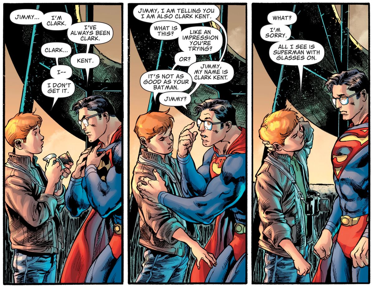 """Superman endeavors to show Jimmy Olsen that he is Clark Kent. """"I'm sorry,"""" Jimmy says, """"All I see is Superman with glasses on,"""" in Superman #18, DC Comics (2019)."""