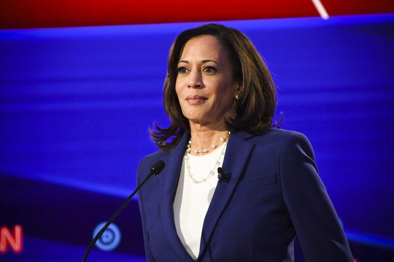 Democratic presidential hopeful California Sen. Kamala Harris (D-CA) during the fourth Democratic primary debate of the 2020 presidential campaign season.