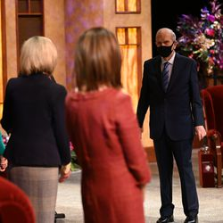 President Russell M. Nelson greets women leaders before the women's session of the 190th Semiannual General Conference of The Church of Jesus Christ of Latter-day Saints on Saturday, Oct. 3, 2020.
