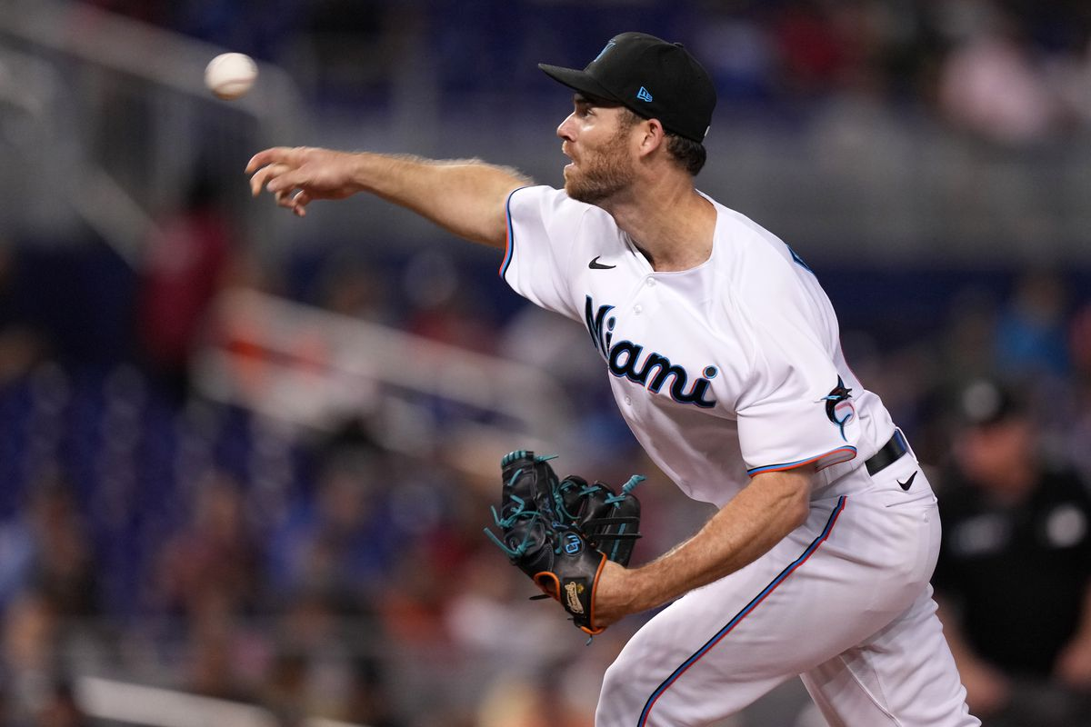Miami Marlins starting pitcher Anthony Bender (80) delivers a pitch in the 1st inning against the San Diego Padres at loanDepot park