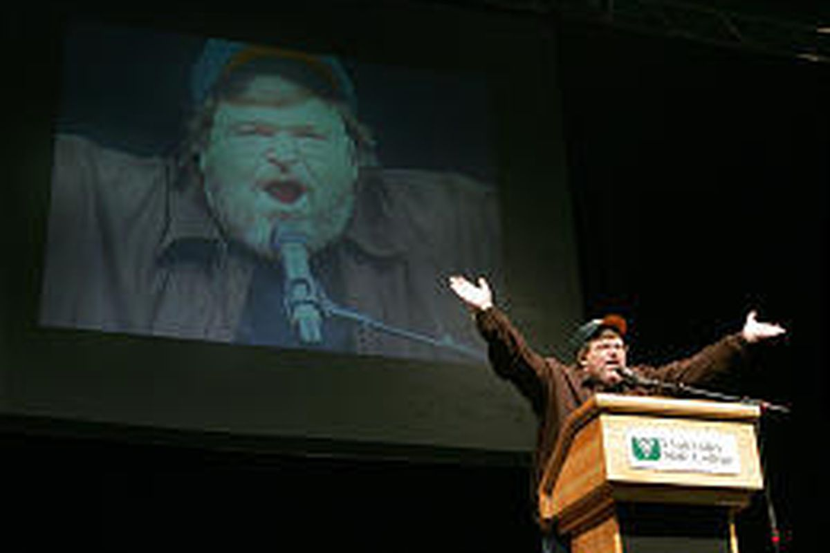 """""""Fahrenheit 9/11"""" director Michael Moore speaks at UVSC on Wednesday."""