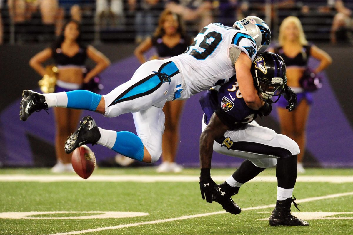 Panthers linebacker Luke Kuechly forced one of Baltimore's four turnovers in Carolina's 34-27 win Thursday night.