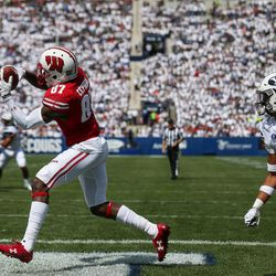 Wisconsin Badgers wide receiver Quintez Cephus (87) makes a touchdown reception, putting the Badgers up 17-3 over the Brigham Young Cougars after the PAT, in the first half at LaVell Edwards Stadium in Provo on Saturday, Sept. 16, 2017.