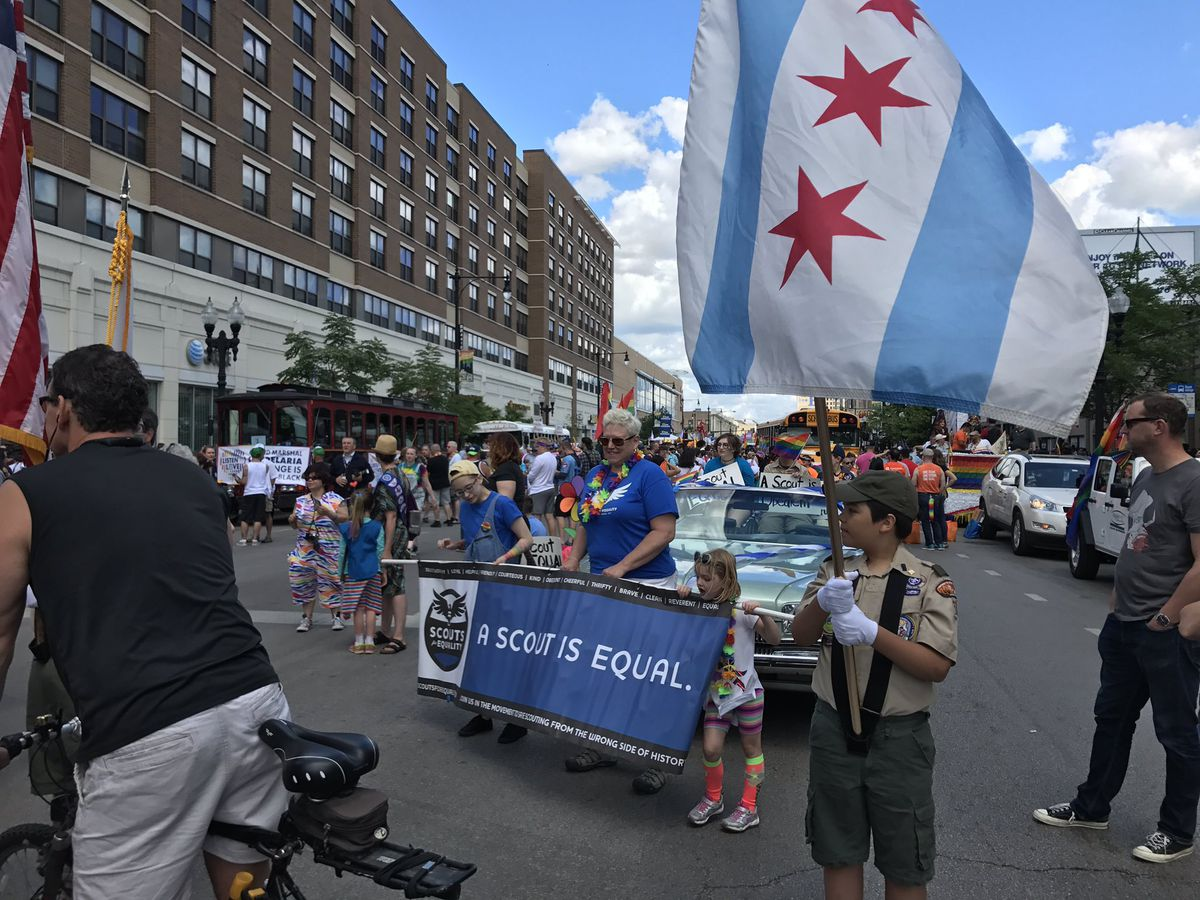 Scouts for Equality lined up to lead the Chicago Pride Parade. | Jacob Wittich/For the Sun-Times