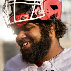 Utah offensive lineman Nick Ford recalls fond memories of slain teammate Aaron Lowe while talking to journalists after practice at the Spence and Cleone Eccles Football Center in Salt Lake City on Monday, Oct. 4, 2021. Lowe was killed Sept. 26 in a shooting in Salt Lake.