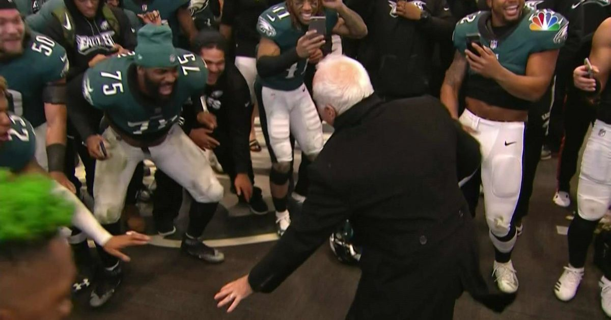 Eagles owner Jeffrey Lurie dances in the locker room after beating the Falcons