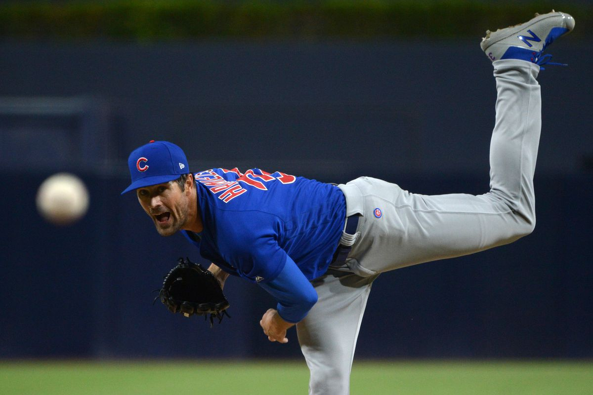 Chicago Cubs starting pitcher Cole Hamels pitches in the first inning against the San Diego Padres at Petco Park.