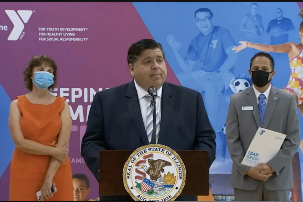 Gov. J.B. Pritzker announces expansion of child care financial assistance for families and providers Tuesday.