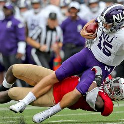 Chris Orr sacks the NU QB. With a stand out day, Chris is now up to 18 tackles on the season.