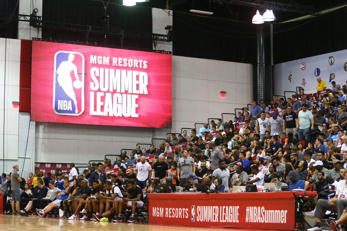 Detailed view of a NBA Summer League logo in the Cox Pavilion during a Brooklyn Nets game against the Orlando Magic.