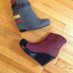 80%20 wedge booties: retail price, $99 and $198; sale price, $50 and $100