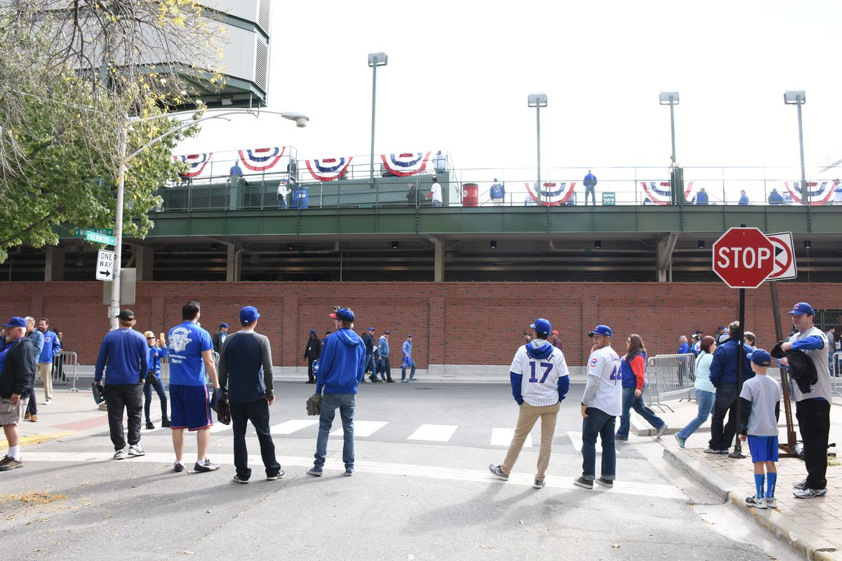Ballhawks at Waveland & Kenmore before Game 4 of the Division Series vs. the Cardinals